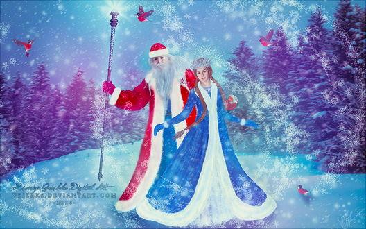 Обои Дед Мороз и Снегурочка, стоящие на заснеженной поляне под падающим снегом, порхающими в воздухе птицами, автор Veilaks