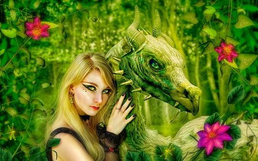 Обои Светловолосая девушка с ярким макияжем, стоящая среди красных цветов, обнимает за шею зеленого дракона, стоящего рядом, автор Veilaks