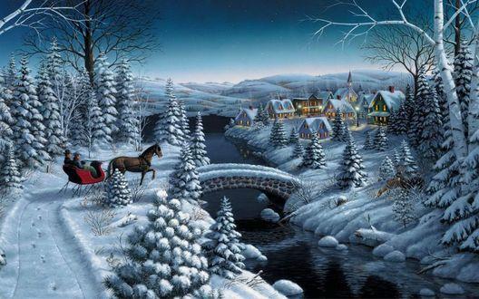 Обои Зимний лес, деревня