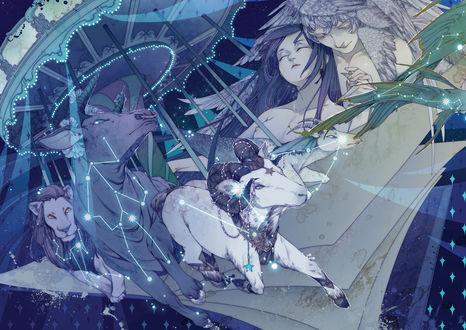 Обои Карусель из небесных созвездий, art by Akai Kamoshi