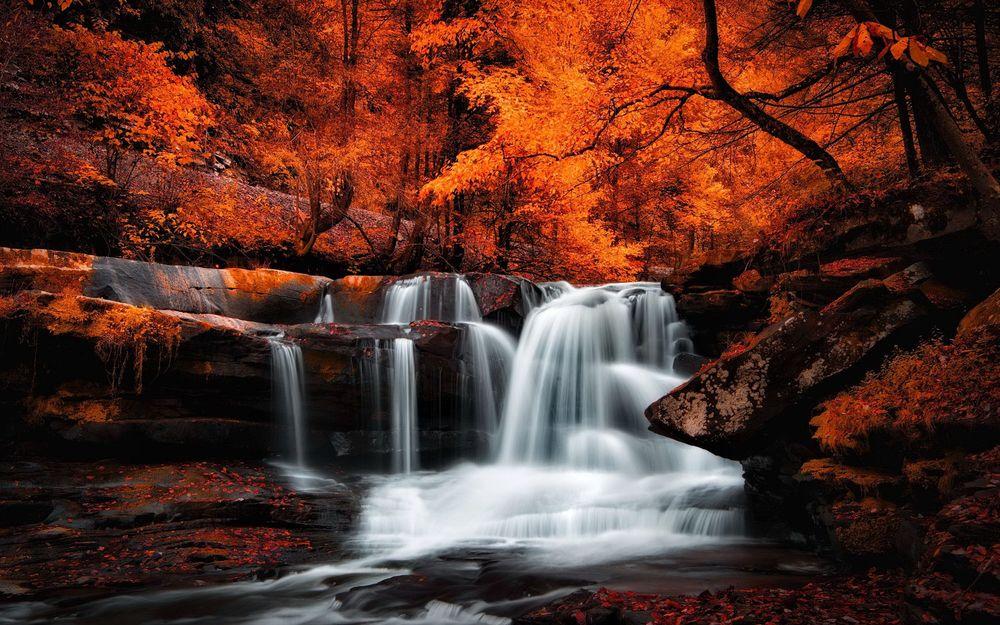 обои для рабочего стола осень водопады 16173