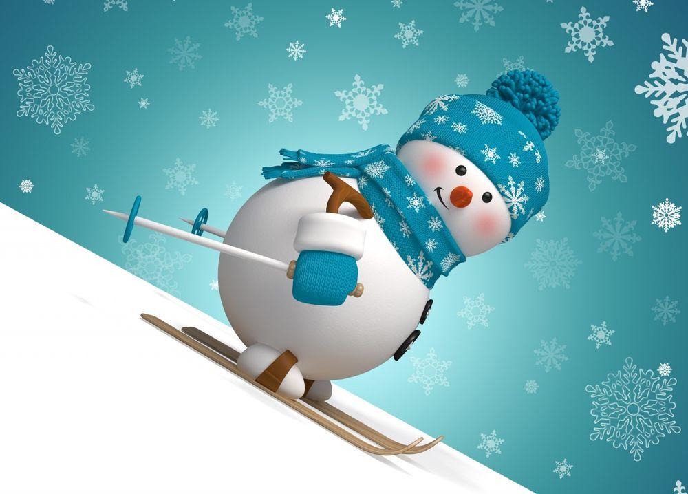 Обои для рабочего стола Снеговик в шапочке и шарфике съезжает на лыжах с горки