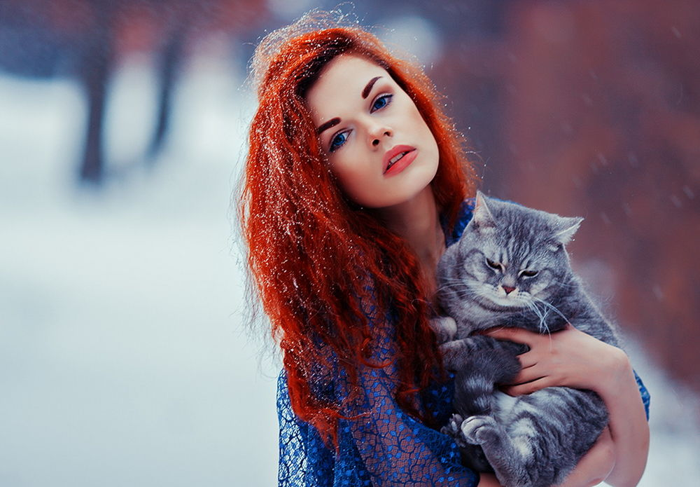 девушки с яркими рыжими волосами фото