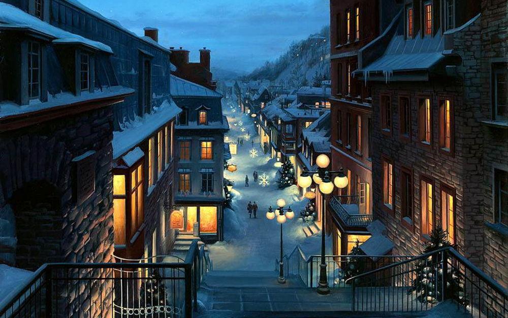 Картинки зимы с людьми и домами