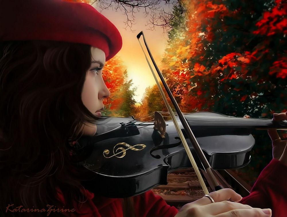 Картинки со скрипкой и осень со снегом
