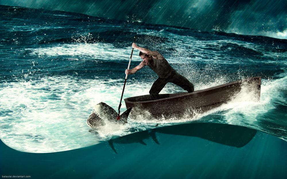 Обои для рабочего стола Мужчина, находящийся в лодке с гарпуном в руках, со всей силой вонзил его в туловище акулы, автор bataulai