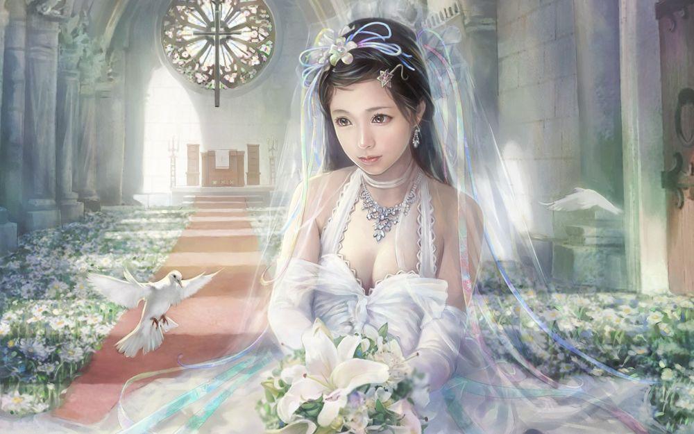 Обои для рабочего стола Девушка в свадебном платье сидит в церкви с букетом в руках, а рядом летают белые голуби