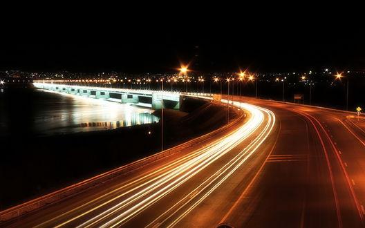 Обои Кольский мост, въезд в город Мурманск, ночью, Россия / Kola bridge, Murmansk, Russia