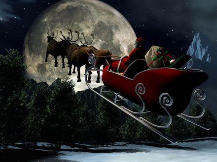 Обои Санта Клаус / Santa Claus в санях, запряженных оленями, летит над лесом