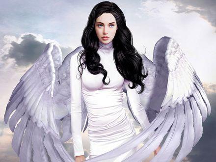 Обои Девушка-ангел с большими белыми крыльями