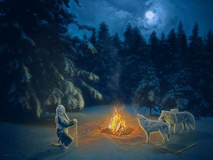 Обои Девушка и волки у зимнего костра, by IvannaDark