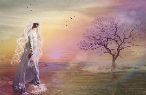 Обои Грустная девушка с длинными, белыми волосами, опустившая голову, стоящая в воде у берега озера напротив растущей на небольшом островке цветущей сакуры, парящих в воздухе птиц, автор Lady Judina