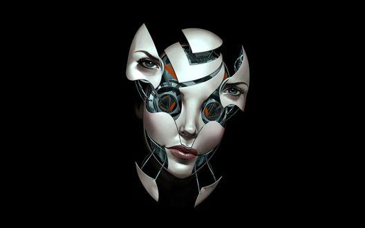 Обои Голова робота девушки с разделяющимися частями на черном фоне