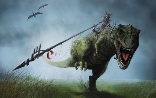 Обои Мифический всадник с громадным копьем оседлал огромного скачущего тиранозавра, в небе летают хищные птицы