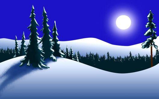 Обои Полная Луна над заснеженной бугристой местностью, поросшей хвойным лесом