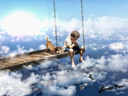 Обои Мальчик и его собака, сидящие на деревянном настиле с металлическими цепями, уходящими в небо с белыми облаками в окружении парящих возле них фотокамер, автор srsilent 25