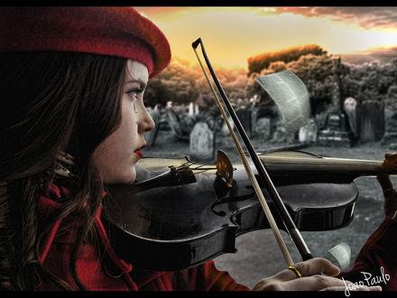 Обои Девушка в красном берете с выкатившейся из глаза слезой, играет на скрипке грустную мелодию невдалеке от кладбища на фоне заката, автор srsilent 25