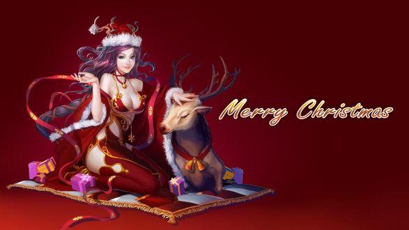 Обои Девушка с оленем Merry Christmas / Счастливого рождества