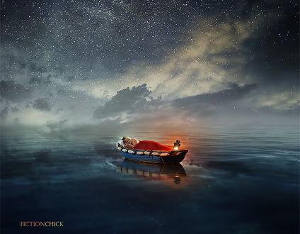 Обои Светловолосая девушка в длинной, красной юбке, спящая в лодке, плывущей по морю с горящим на корме фонарем на фоне ночного, звездного неба, автор Fiction Chick