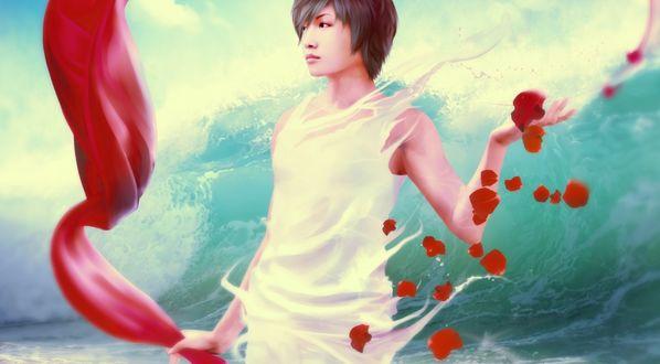 Обои Девушка азиатской внешности держит одной рукой развевающийся красный шарф, другой рукой ловит лепестки красных цветов, на фоне морских волн
