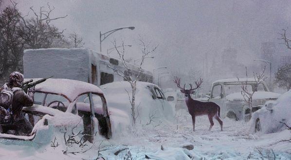 Обои Среди занесенной снегом автомобильной свалки, охотник стоя в багажнике авто, целится с винтовки с оптическим прицелом в оленя