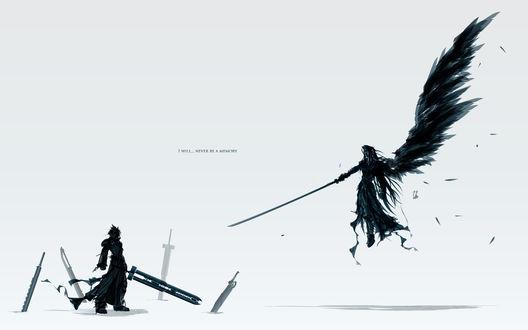 Обои Sephiroth / Сефирот и Cloud Strife / Клауд Страйф из компьютерной игры Final Fantasy VII / Последняя Фантазия 7 (I will. never be a memory)