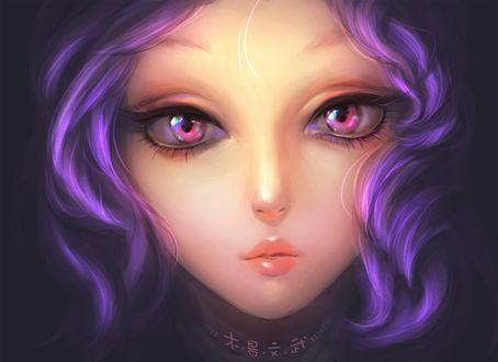 Обои Портрет девушки с фиолетовыми волосами