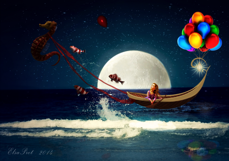 Обои Девочка, сидящая в лодке, которую передвигает по морю морской конек, впряженный в красную ленту, горящим фонарем и разноцветными шарами на носу лодки, выпрыгивающими из воды разноцветными рыбками на фоне ночного, звездного неба и появившейся луны, автор Elsapret