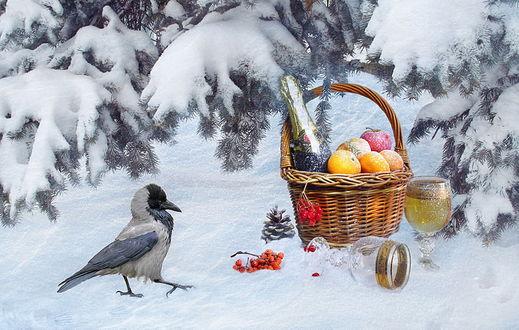 Обои Любопытная ворона, стоящая на снегу рядом с плетеной корзинкой, наполненной яблоками и мандаринами, стоящей бутылкой шампанского, двумя фужерами, один из которых наполнен напитком, другой опрокинут на снег, автор Алла Шевченко