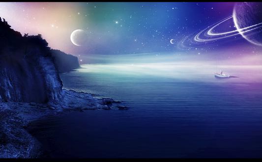Обои Рыжеволосая девушка, стоящая в лодке невдалеке от скалистого, морского побережья на фоне ночного, звездного, космического неба и парада планет Солнечной системы, автор RazielMB