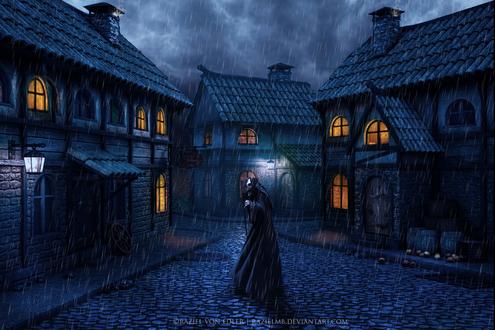 Обои Смерть с косой, одетая в черный плащ с капюшоном, бредущая по мощеной мостовой небольшого городка под проливным дождем на фоне ночного, пасмурного неба, автор RazielMB