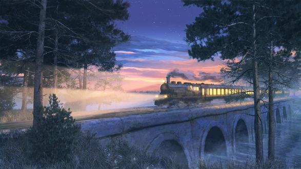 Обои Паровоз проезжает по мосту над рекой, art by Arsenixc