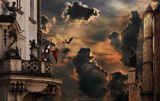 Обои Черная птица, несущая в клюве розу для девушки, стоящей на балконе дома от воина в доспехах, стоящего на каменной башне напротив, автор ChristabelleLAmort