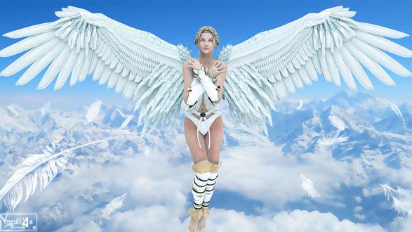 Обои Девушка Ангел стоит с раскрытыми белыми крыльями на фоне голубого неба с белоснежными облаками