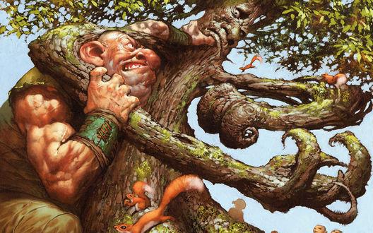 Обои Дерево, по которому бегают маленькие белки сражается с огромным великаном