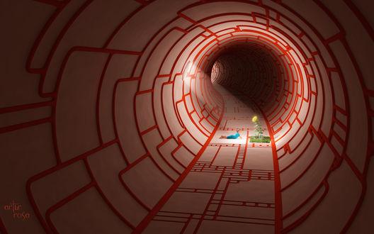 Обои В круглом тоннеле лабиринте находится клочок земли с травой и растущим подсолнухом и рядом на животе лежит мальчик