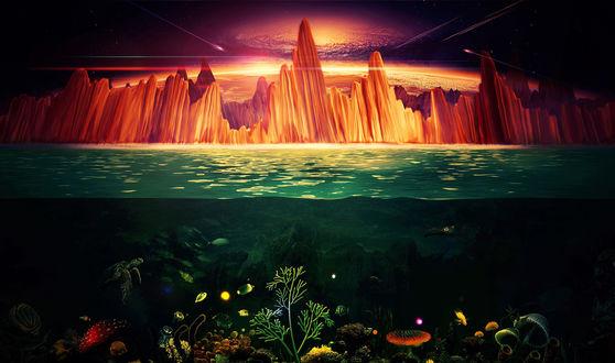 Обои Часть подводного мира с виднеющимся вдали скалистым берегом, над которым пролетают метеориты и видно Солнце