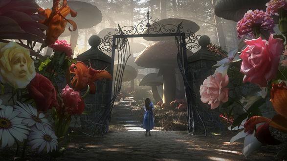 Обои Девушка стоит перед воротами сказочного городка, вокруг огромные цветы с лицами