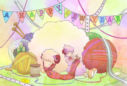 Обои Девушка в костюме барашка вяжет, облокатившись на овцу (A HAPPY NEW YEAR)