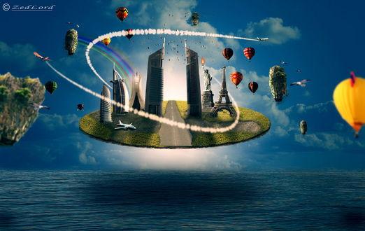 Обои Каменная тарелка, покрытая зеленью со стоящими на ней небоскребами, Эйфелевой башней, Американской Статуей Свободы, пассажирским самолетом, парящая в воздухе над морем в окружении летающих воздушных шаров, самолетов, птиц, небольших каменных образований, автор ZedLord-Art