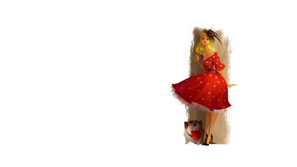 Обои Девушка в красном платье стоит возле стены, у ее ног сидит бульдог, держащий в зубах красное ведро