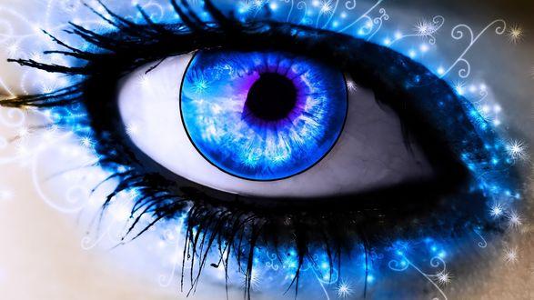 Обои Огромный глаз с синим зрачком и узорами вокруг ресниц