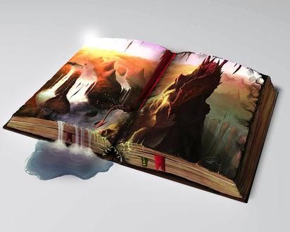 Обои Раскрытая книга, на страницах которой сидит дракон и стекает вода