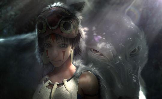 Обои San / Сан и Moro / Моро из аниме Принцесса Мононокэ / Mononoke Hime