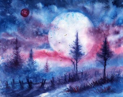 Обои Полная луна на ночном небе, работа жаркое лето, ночь, ву AnnaArmona