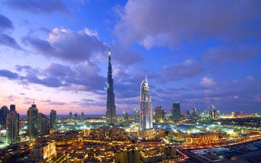 Обои Вечер в Дубае, Объединенные Арабские Эмираты / Dubai, United Arab Emirates