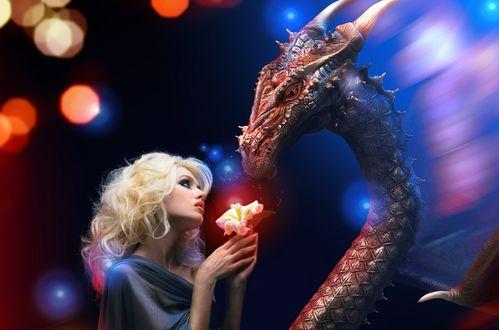 Обои Девушка с драконом