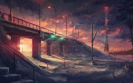 Обои Мост с фонарями вдоль него, by Sylar113
