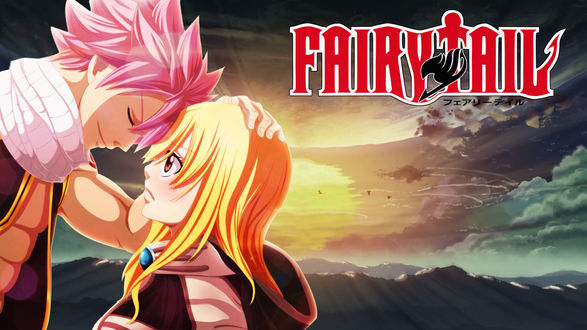Обои Нацу Драгнил / Natsu Dragnil и Люси Хартфилия / Lucy Hartfiliya из аниме Хвост Феи / Fairy Tail