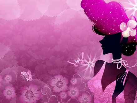 Обои Векторный рисунок девушки в розовых тонах